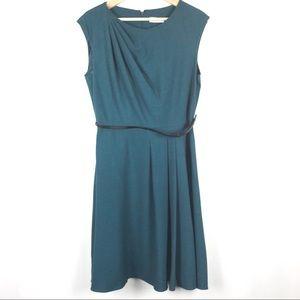 Calvin Klein Fit Flare Pleat Belt Dress Size 10
